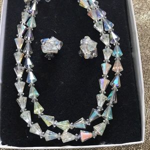 Double Strand Crystal Necklace and Clip Earrings